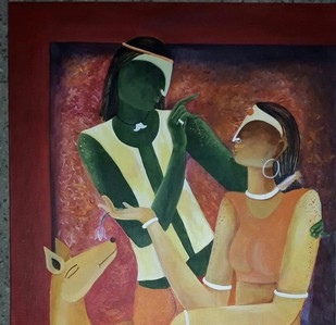 Preet by Avani, Expressionism Painting, Acrylic on Canvas, Brown color