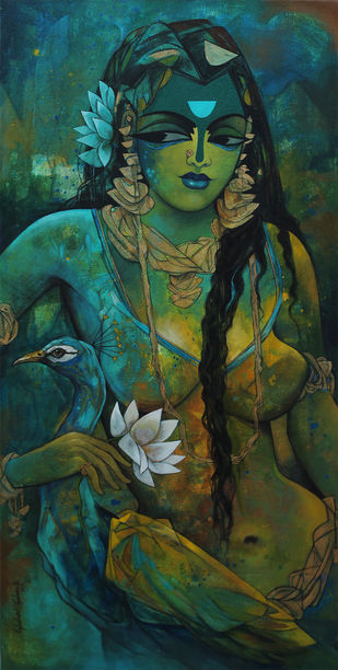 woman with peacock -17 by Rajeshwar Nyalapalli, Traditional Painting, Acrylic on Canvas, Green color