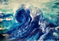 Blue wave by Anjalee S Goel, Abstract Painting, Mixed Media on Wood, Blue color
