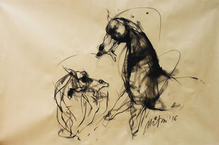 Force by Mithun Dutta, Illustration Drawing, Charcoal on Paper, Beige color