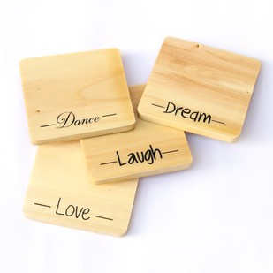 IVEI screen printed Love, Laugh, Dream, Dance Wooden coasters(set of 4) by , Coaster Set, Wood, White color