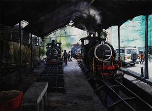 Memories-in-Darjeeling Toy Train 1 by Ranabir Saha, Impressionism Painting, Watercolor on Paper, Gray color