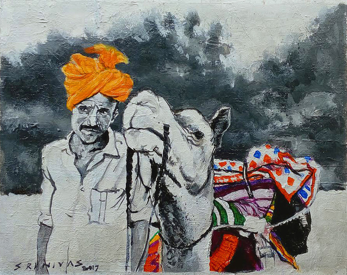 Me&My Camel by Sreenivasa Ram Makineedi, Expressionism Painting, Acrylic on Canvas, Gray color