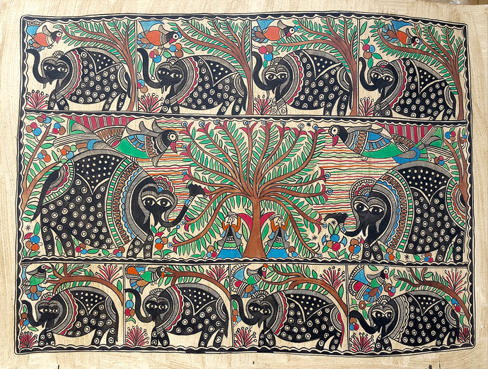 Elephants In The Jungle by Chano Devi, Folk Painting, Natural colours on paper, Brown color