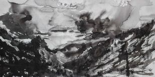 Seeker by Deepanshu Joshi, Abstract Painting, Ink on Paper, Gray color