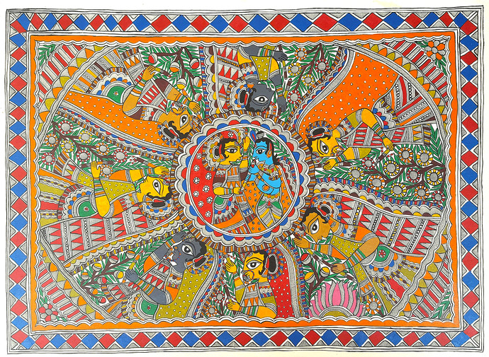 Radha Krishna Raas Leela With Gopis by Sudina Devi, Folk Painting, Acrylic on Paper, Brown color