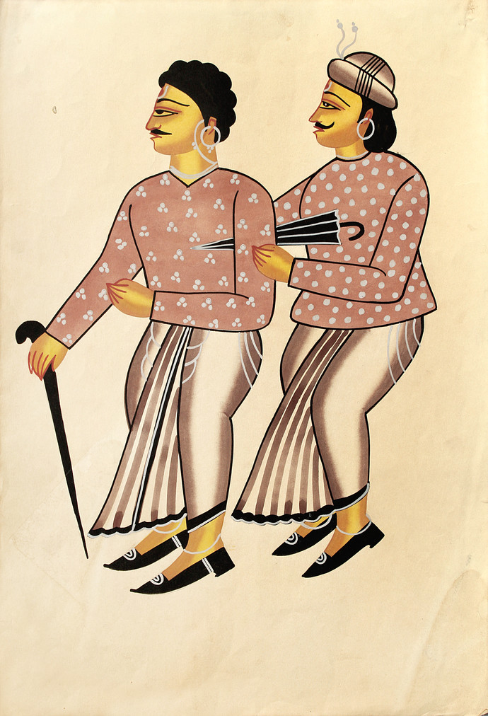 Kalighat Painting by Unknown Artist, Traditional Painting, Watercolor on Paper, Gray color