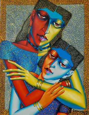 Mother and Child-4 by Dayanand Kamakar, Expressionism Painting, Oil & Acrylic on Canvas, Brown color