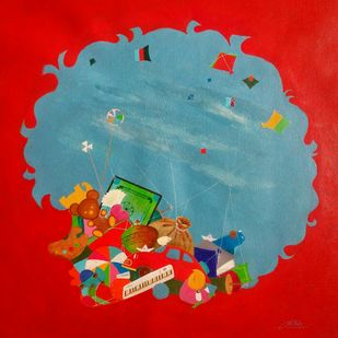 Treasure of the childhood viii by shiv kumar soni, Expressionism Painting, Acrylic on Canvas, Red color