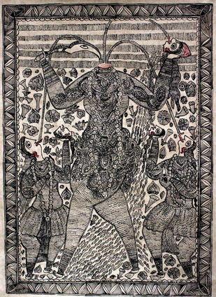 Mata Chhinmastika by Sanjeev Kumar Jha, Folk Painting, Natural colours on paper, Brown color