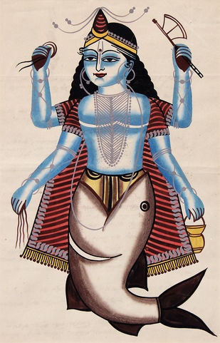 Kalighat Painting by Unknown Artist, Folk Painting, Watercolor on Paper, Gray color