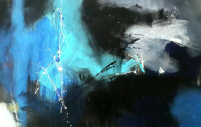 space (series) by Gulrez Ali, Abstract Painting, Acrylic on Canvas, Blue color