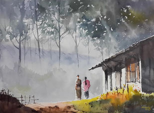 Munnar Days 1 by Mopasang Valath, Impressionism Painting, Watercolor on Paper, Gray color