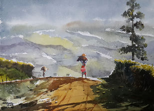 Munnar Days 2 by Mopasang Valath, Impressionism Painting, Watercolor on Paper, Gray color