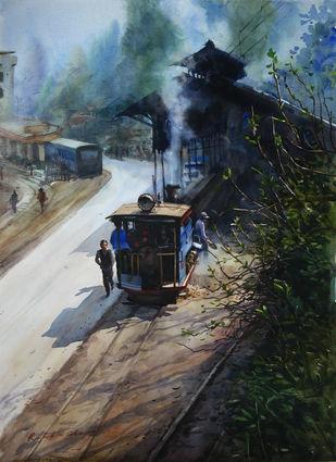 Memories-in-Darjeeling Toy Train 2 by Ranabir Saha, Impressionism Painting, Watercolor on Paper, Gray color
