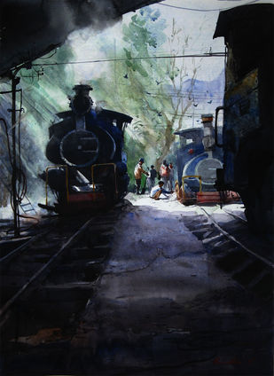 Memories-in-Darjeeling Toy Train 4 by Ranabir Saha, Impressionism Painting, Watercolor on Paper, Black color
