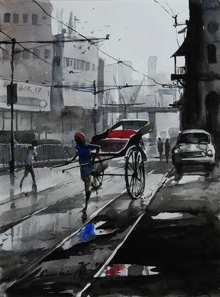 Kolkata-Riksaw by Ranabir Saha, Impressionism Painting, Watercolor on Paper, Gray color