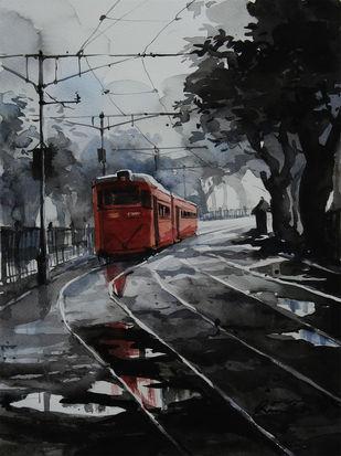 Kolkata-Tram by Ranabir Saha, Impressionism Painting, Watercolor on Paper, Gray color