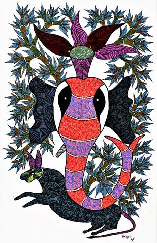 Gond painting illustrating snake and mongoose fight. by Brajbhushan Dhurve, Tribal Painting, Acrylic on Canvas, Gray color