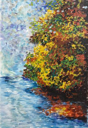 True Companionship by Bhaswati Boruah , Impressionism Painting, Acrylic on Paper, Cyan color