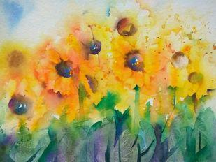 Sunshine by Poulami Basu, Impressionism Painting, Watercolor on Paper, Beige color