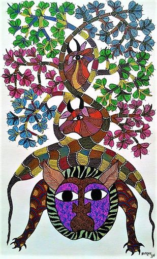 Gond painting of animals taking shelter under a tree by Brajbhushan Dhurve, Tribal Painting, Acrylic on Canvas, Brown color