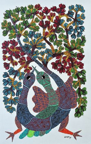 Gond painting of animal hunted by tribals in a forest. by Brajbhushan Dhurve, Tribal Painting, Acrylic on Canvas, Brown color