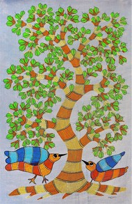 Original hand made gond painting illustartion beautiful combination of colors. by Brajbhushan Dhurve, Tribal Painting, Acrylic on Canvas, Beige color
