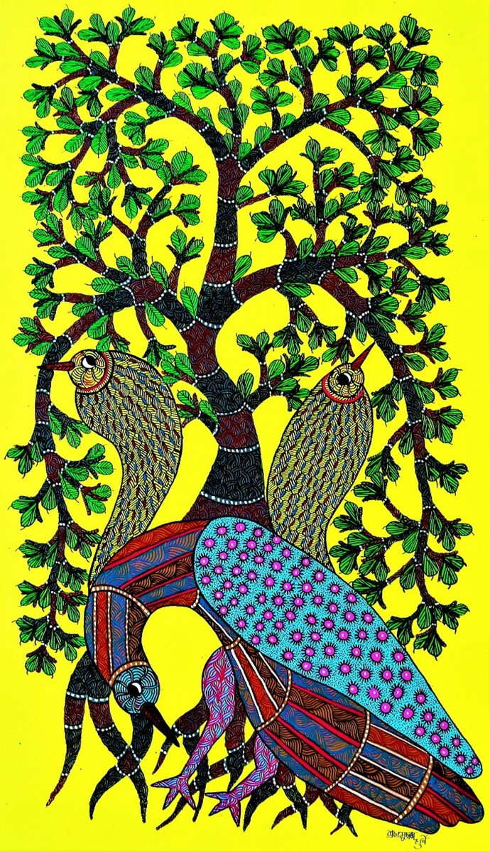 Original Gond Painting Showcasing Birds Cant Live Without Trees.By Brajbhushan Dhurve