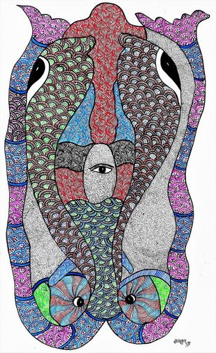 Gond painting illustrating a beautiful mind of a gond painter. by Brajbhushan Dhurve, Tribal Painting, Acrylic on Canvas, Gray color