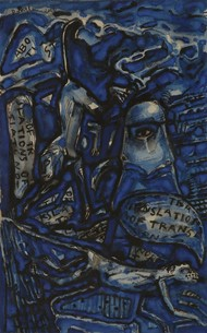 Untitled by C Douglas, Abstract Painting, Mixed Media on Paper, Blue color