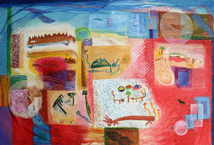 Magic quilt 2 by Archana Rajguru, Abstract Painting, Water Based Medium on Paper, Brown color