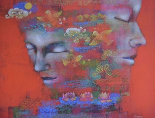 Untitled by Shampa Sircar Das, Expressionism Serigraph, Serigraph on Paper, Brown color