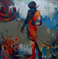 Boy playing with Arrow and Bow by Rajesh Shah, Expressionism Painting, Acrylic on Canvas, Brown color
