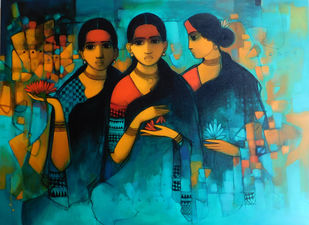 Women by Sachin Sagare, Expressionism Painting, Acrylic on Canvas, Brown color