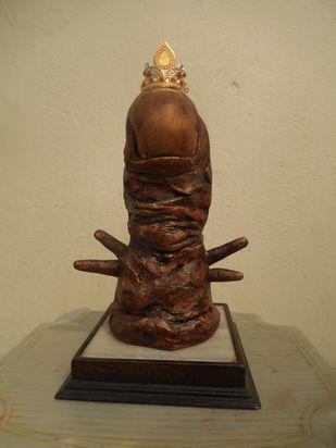The King by Jayanta Bhattacharya, Art Deco Sculpture | 3D, Fiber Glass, Beige color