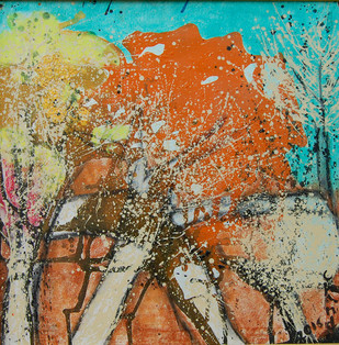 TREES IN BLOOM by Chandana khan, Abstract, Impressionism Painting, Acrylic on Canvas, Brown color