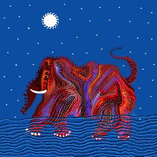 THE VICTIM by Pradip Sarkar, Digital Painting, Digital Print on Canvas, Blue color