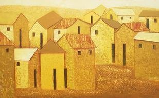 village46 by Nagesh Ghodke, Geometrical Painting, Acrylic on Canvas, Orange color