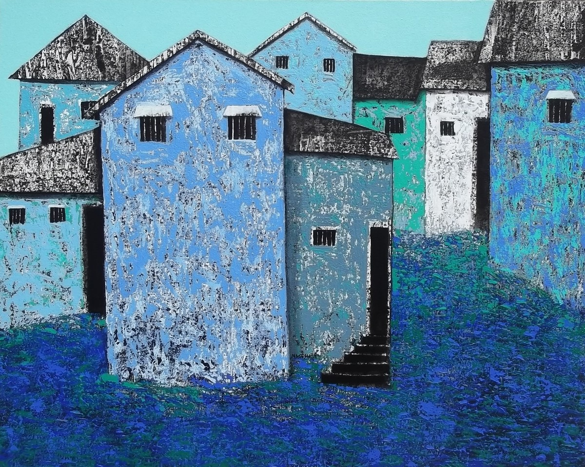 Village 50 by Nagesh Ghodke, Geometrical Painting, Acrylic on Canvas, Blue color