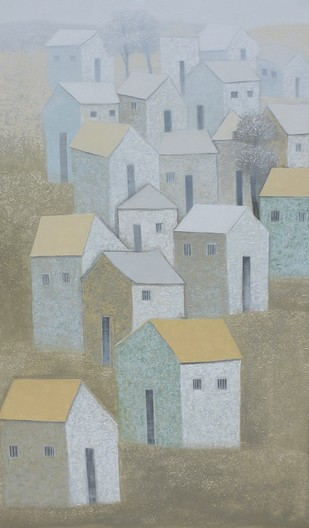 Village 70 by Nagesh Ghodke, Geometrical Painting, Acrylic on Canvas, Gray color