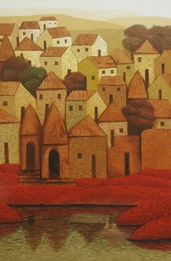 Village 71 by Nagesh Ghodke, Geometrical Painting, Acrylic on Canvas, Brown color