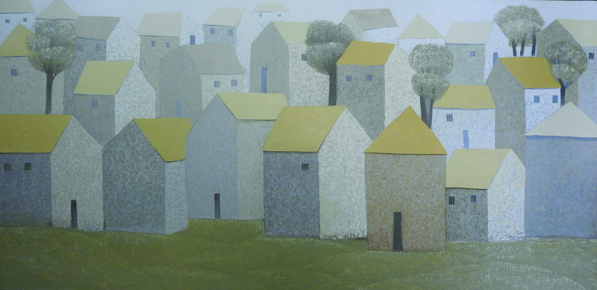 Village 73 by Nagesh Ghodke, Geometrical Painting, Acrylic on Canvas, Gray color