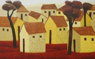 Village 75 by Nagesh Ghodke, Geometrical Painting, Acrylic on Canvas, Brown color