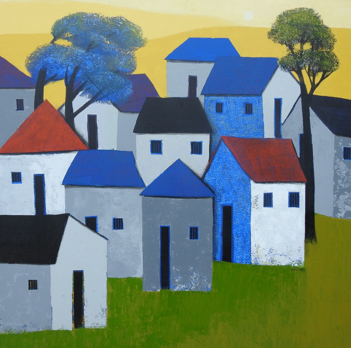 Village 76 by Nagesh Ghodke, Geometrical Painting, Acrylic on Canvas, Green color