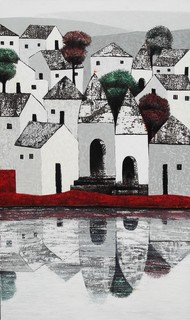 Village 77 by Nagesh Ghodke, Geometrical Painting, Acrylic on Canvas, Gray color