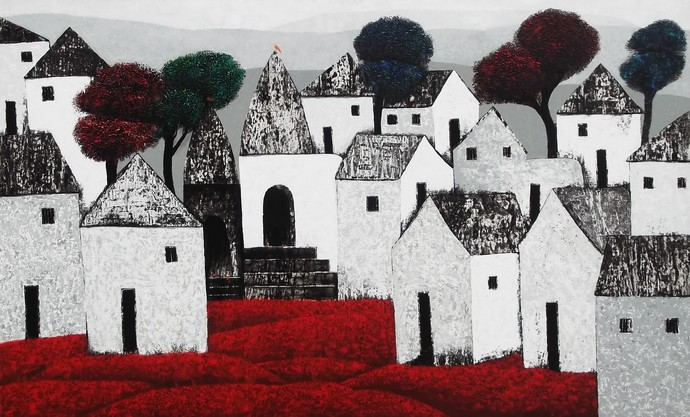 Village 78 by Nagesh Ghodke, Geometrical Painting, Acrylic on Canvas, Gray color