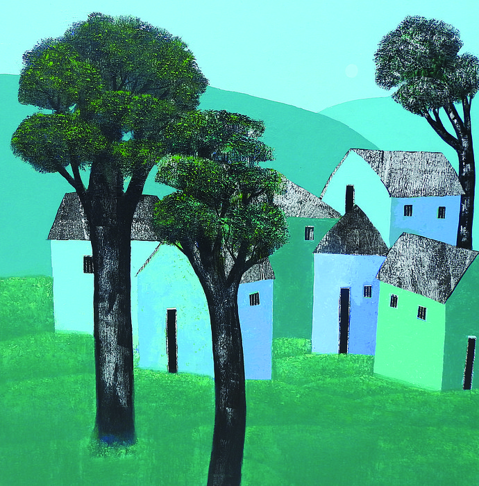Village 61 by Nagesh Ghodke, Geometrical Painting, Acrylic on Canvas, Green color