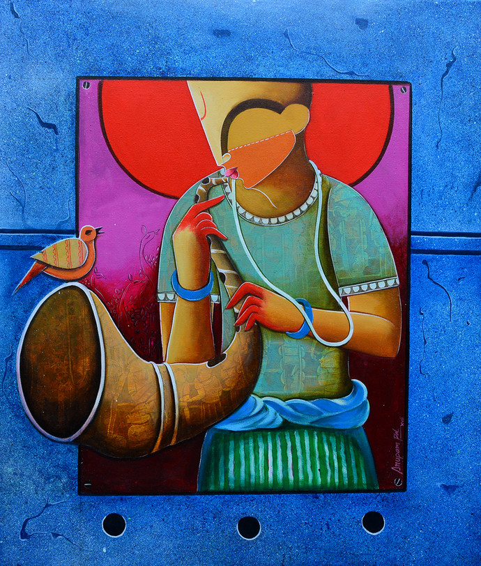 unsong melody by anupam pal, Traditional Painting, Acrylic on Canvas, Blue color
