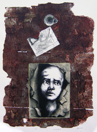 untitled by Tribhuvan Kumar, Expressionism Printmaking, Mixed Media on Wood, Brown color